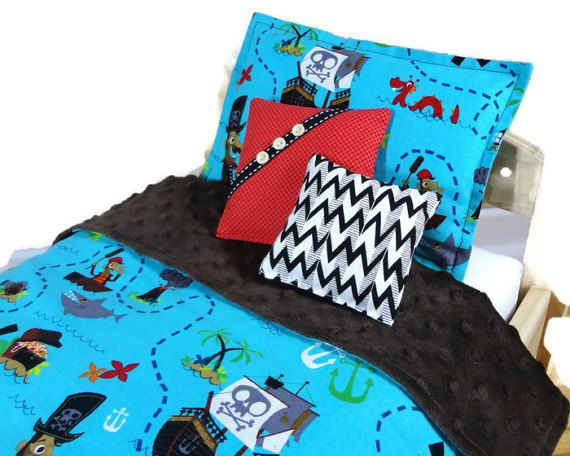 18 inch boy doll bedding set 4 pcs comforter by mylittlepoppyseed
