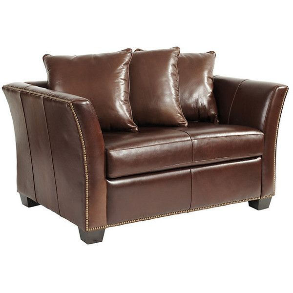 Ballard Designs Tate Leather Twin Sleeper with Antique Brass Nailheads ($1,999) ❤ liked on Polyvore featuring home, furniture, ballard designs furniture, espresso color furniture, ballard designs, dark brown furniture and dark brown leather furniture