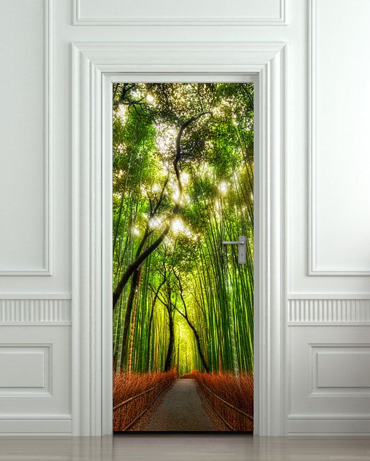 Door wall sticker cover bamboo forest green trees way by Wallnit, $39.99