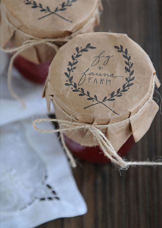 kraft paper jar lids and strawberry honey jam