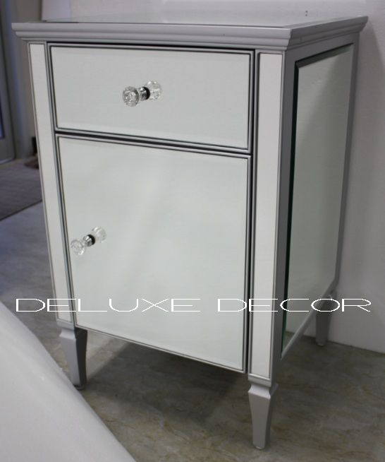 Clair Silver Edge Silver Mirrored Mirror Cabinet Bedside Side Table 2300S http://deluxedecor.com.au/products-page/clair-collection/clair-silver-edge-silver-mirrored-mirror-cabinet-bedside-side-table-2300s/