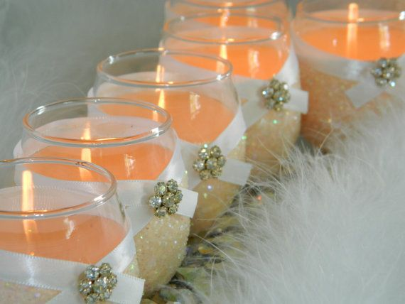 Weddings, Wedding Candles, Candle Holder, Votives, Votive Holder, Peach, SET OF 6, Tea Light Holder, Wedding Decoration, Ceremony Candles on Etsy, $49.95