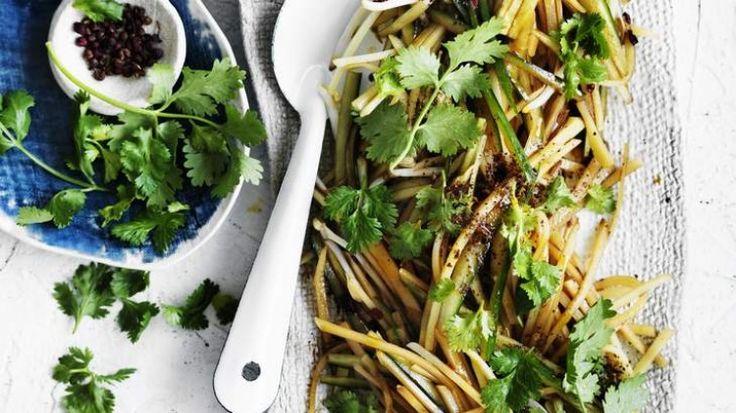Cold shredded potato salad with coriander dressing