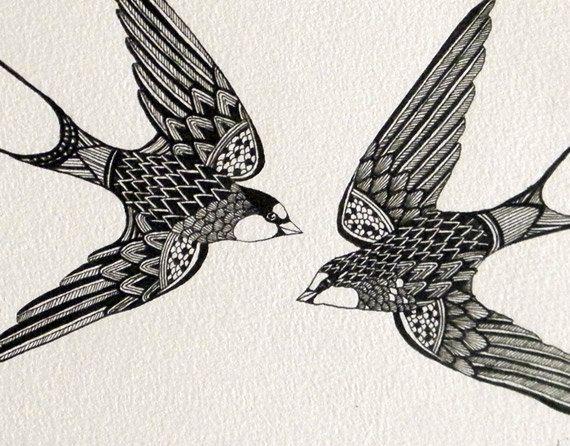 Original Artwork, ink line drawing - Swift Birds. $122.00, via Etsy.