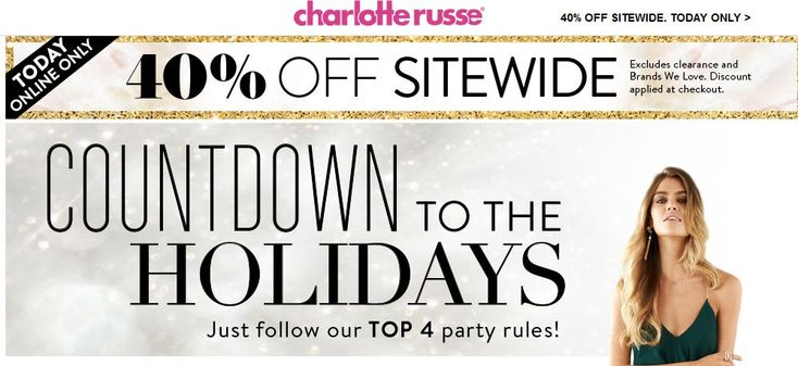 Pinned November 11th: 40% off online today at Charlotte #Russe #coupon via The #Coupons App