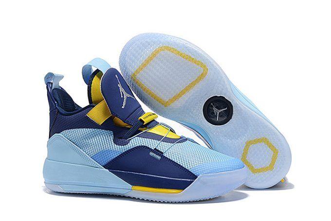 wholesale dealer ea8b7 5c22d Grade School Air Jordan 33 Mint Green Navy Blue Yellow Shoes-4