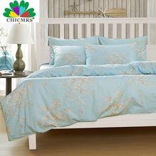 Chicmrs новая европа 4 шт. египетского хлопка постельные принадлежности синий отпечатано королева пододеяльник комплект хлопка одеяла постельные принадлежности(China (Mainland))