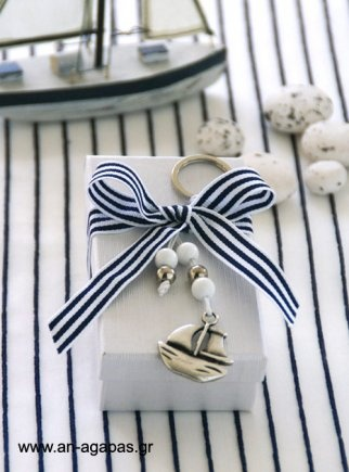 A striped bow, pearls and a charm or two make any gift wrapping special....