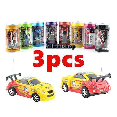 cool 3PCS Multicolor Coke Can Mini Speed RC Radio Remote Control Micro Racing Car Toy - For Sale