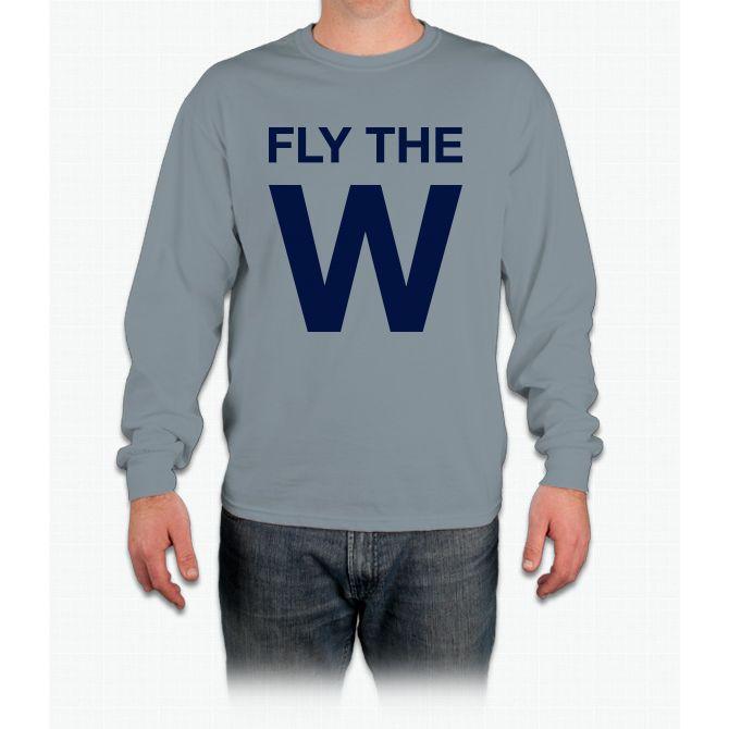 FLY THE W Chicago Cubs W Flag Long Sleeve Baseball T-Shirt mc7NXX