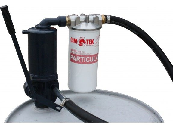 Cast iron litre stroke pump with hose, diesel/petrol spout, suction and with filter