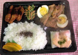 平成26年2月3日(月)ランチメニュー:鶏と卵のこってり煮/豚カツ/エビアボカド生春巻き/青菜お浸し