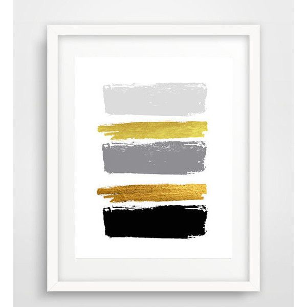 Modern wall art, abstract print, brush strokes, contemporary wall art,... (€8,16) ❤ liked on Polyvore featuring home, home decor, wall art, gold home accessories, gold home decor, gold wall art and brush strokes
