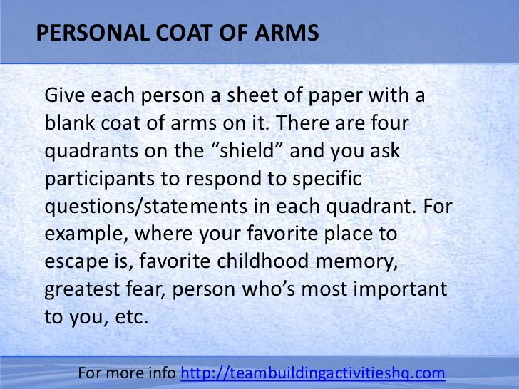"PERSONAL COAT OF ARMSGive each person a sheet of paper with ablank coat of arms on it. There are fourquadrants on the ""shi..."