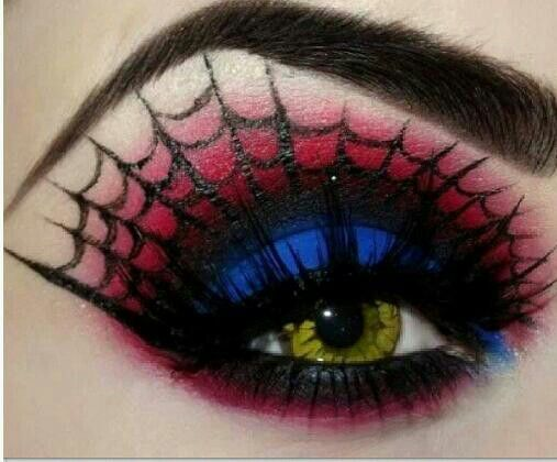 Cool spider web eye makeup for halloween or costume parties