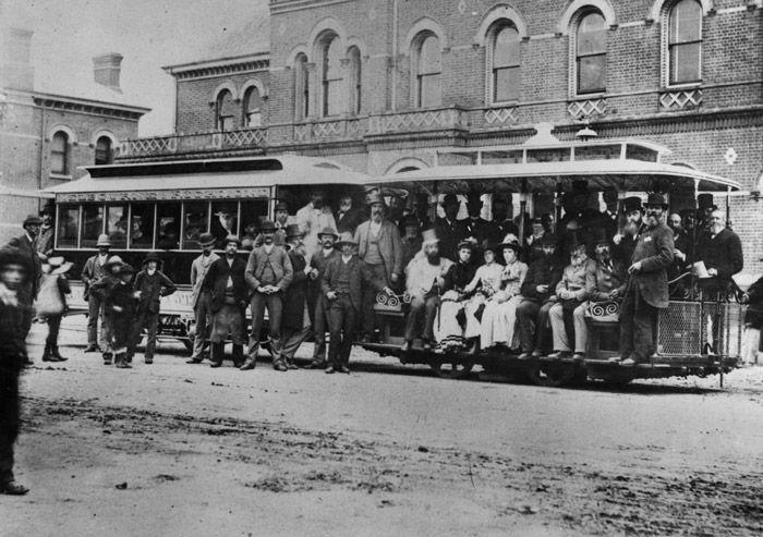 Melbourne's first cable tram service; between Bridge Road, Richmond, and Spencer Street via Flinders Street, 11 November 1885. Melbourne, Australia