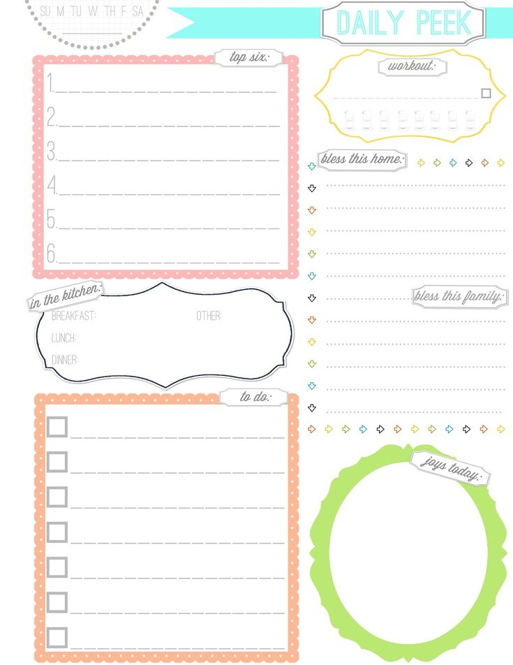 16 best Printable Planner Pages images on Pinterest Printable - daily organizer template