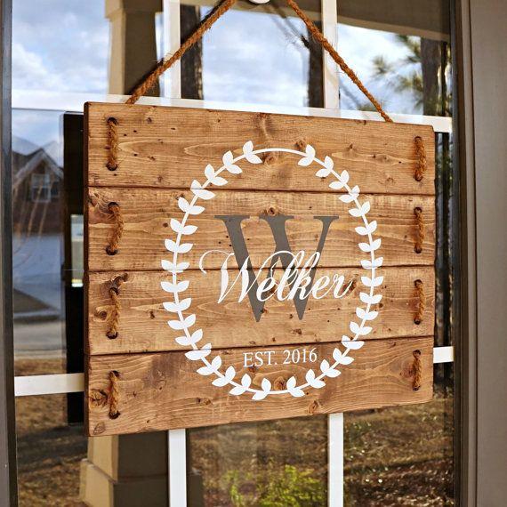 Wedding Gift Last Name Establish- Wedding Established Sign- Wedding Gift for Best Friend- Front Porch Sign- Personalized Wooden Signs