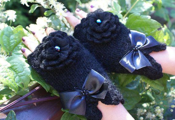 Черные перчатки без пальцев руки вязать митенки варежки шерсть рукой запястье подогреватели Зимняя мода новогодних подарков для нее