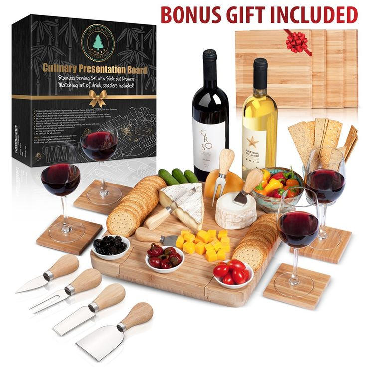 """100% Bamboo Cheese Board with Slide-Out Drawer & 4-Piece Stainless Cutlery Set. Includes FREE set of matching coasters. Perfect House Warming Gift & Best Choice For Every Kitchen. Large 13""""x13"""""""
