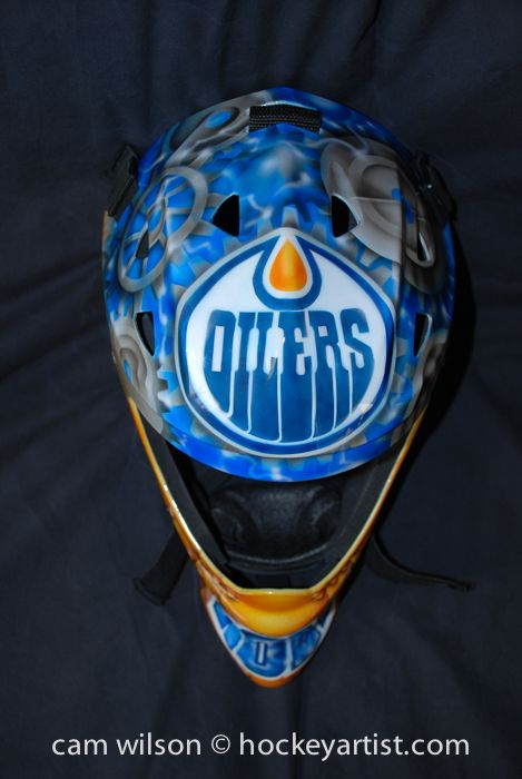 Edmonton Oilers Gear Theme - Goalie Mask Airbrushing by Cam Wilson www.hockeyartist.com