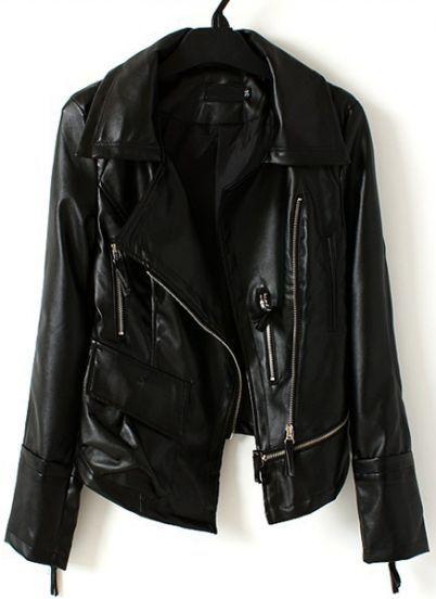Black Lapel Long Sleeve Zipper PU Jacket pictures