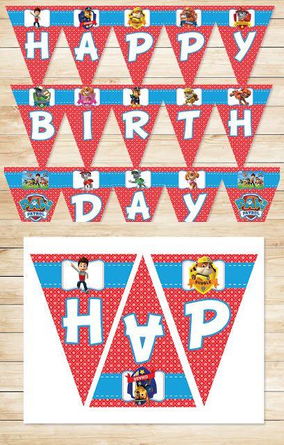 Free Printable Paw Patrol Birthday Banner   Red BG Theme ~ Free Paw Patrol Printables