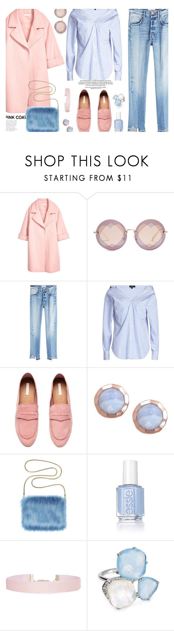"""Pink Coat..."" by unamiradaatuarmario ❤ liked on Polyvore featuring H&M, Miu Miu, Frame, Theory, Essie, Humble Chic, Nadri and pinkcoats"