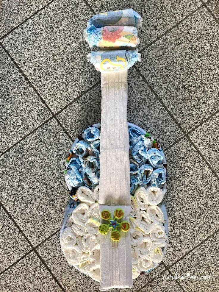Windeltorte DIY Geburt Anleitung Gitarre Pampers
