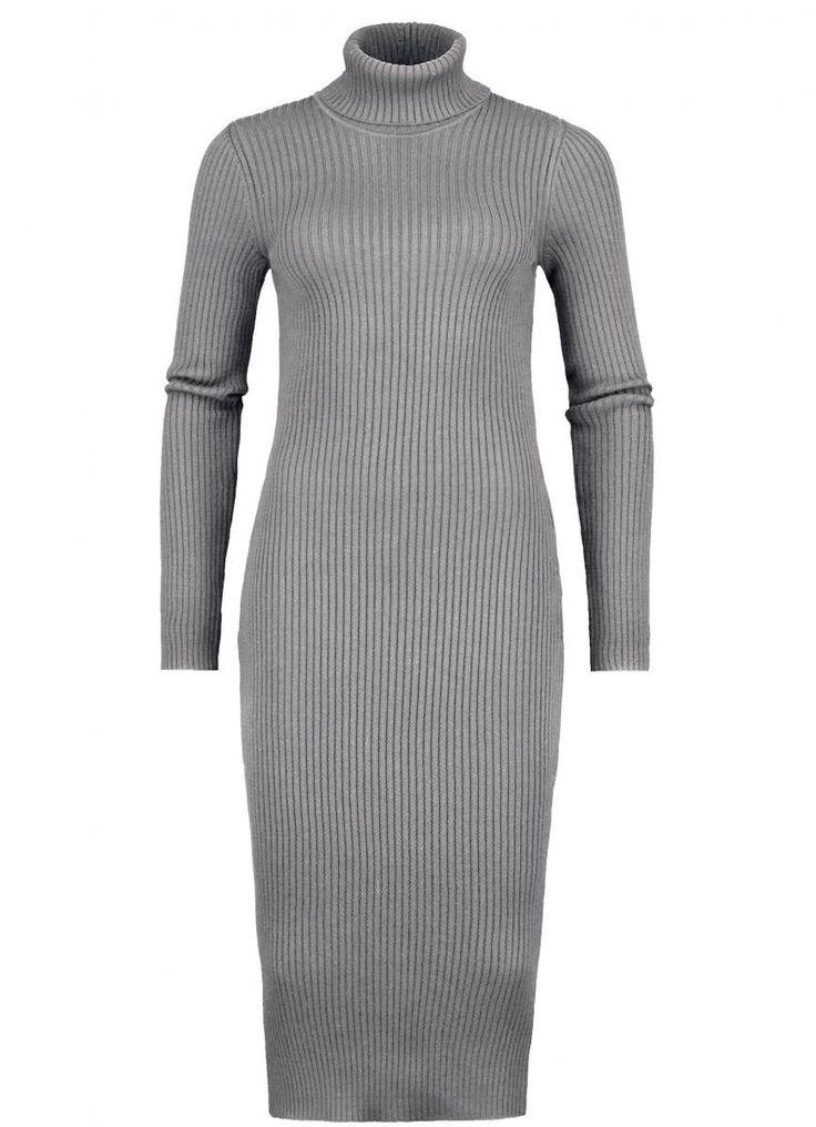Geribde grijze jurk met opstaande col | Claudia Sträter