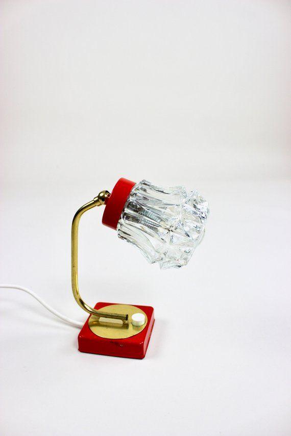 Vintage Tischlampe Tisch Leuchte Nachttischlampe Desk Lamp Rot