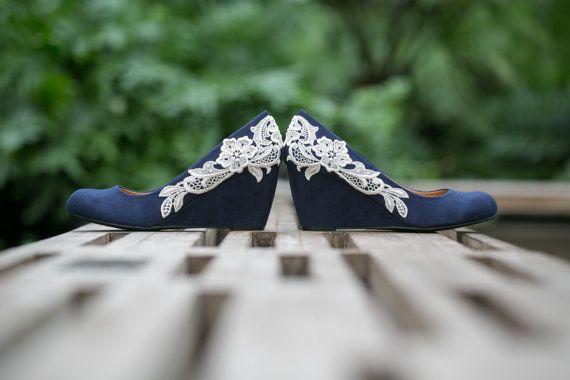 Wedding Shoes Navy Blue Wedges Bridal Heels Navy by walkinonair