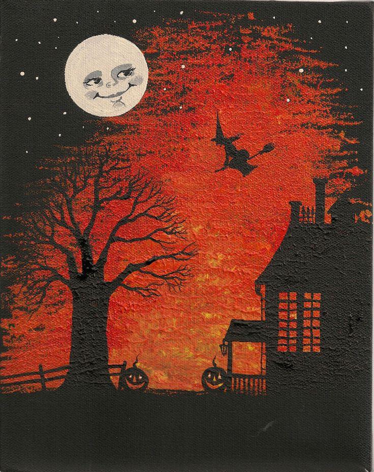 5X7 HALLOWEEN  PRINT OF PAINTING ART RYTA HAUNTED HOUSE FOLK ART MAGIC MOON #Halloween