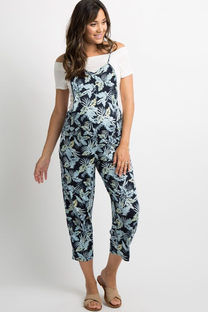 aeb978f1fc40 Navy Blue Tropical Maternity Jumpsuit