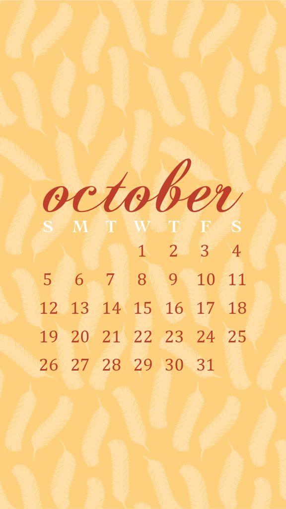 October Calendar Wallpaper Iphone : Pale orange feathers october calendar ideas