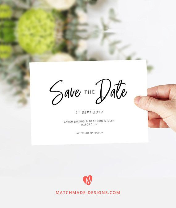 Modern Save The Date Template Printable Save Our Date Card Download
