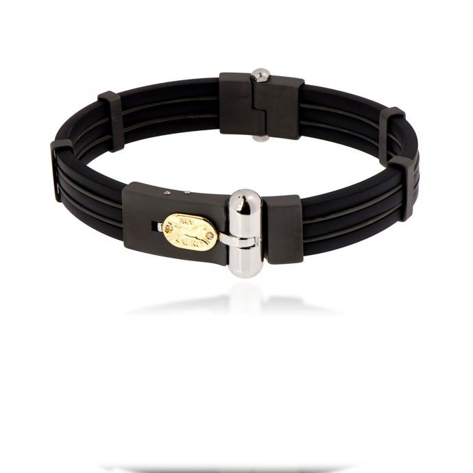 This bracelet comes with 18k yellow gold and diamonds logo and contains stainless steel, black ceramic and rubber.