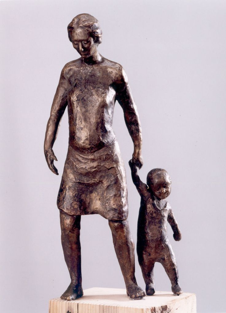 Lets go - Rzeźba ©1998 przez Zofia Kubicka -                                                            Ekspresjonizm, Brąz, Ciało, motherhood