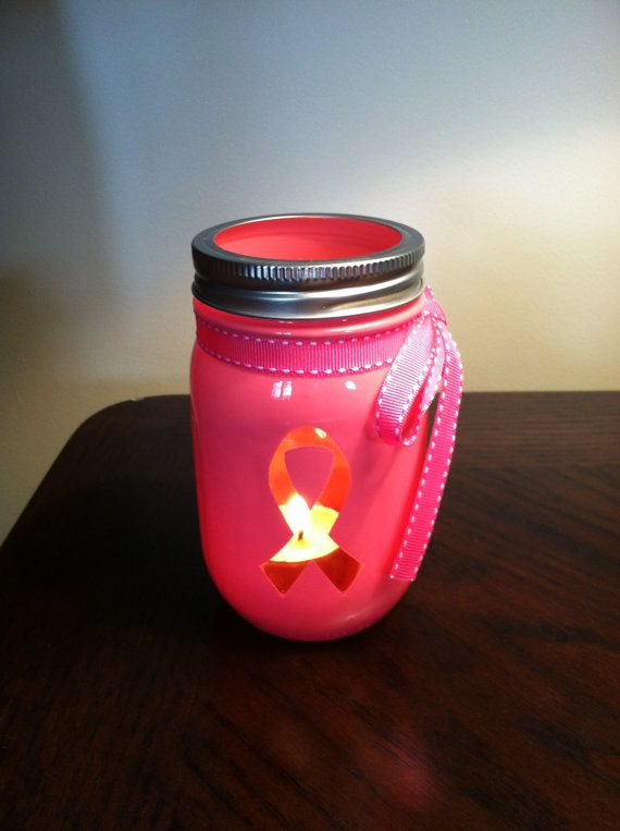 Pink Breast Cancer Ribbon Mason Jar by KemptonKrafts on Etsy, $9.99