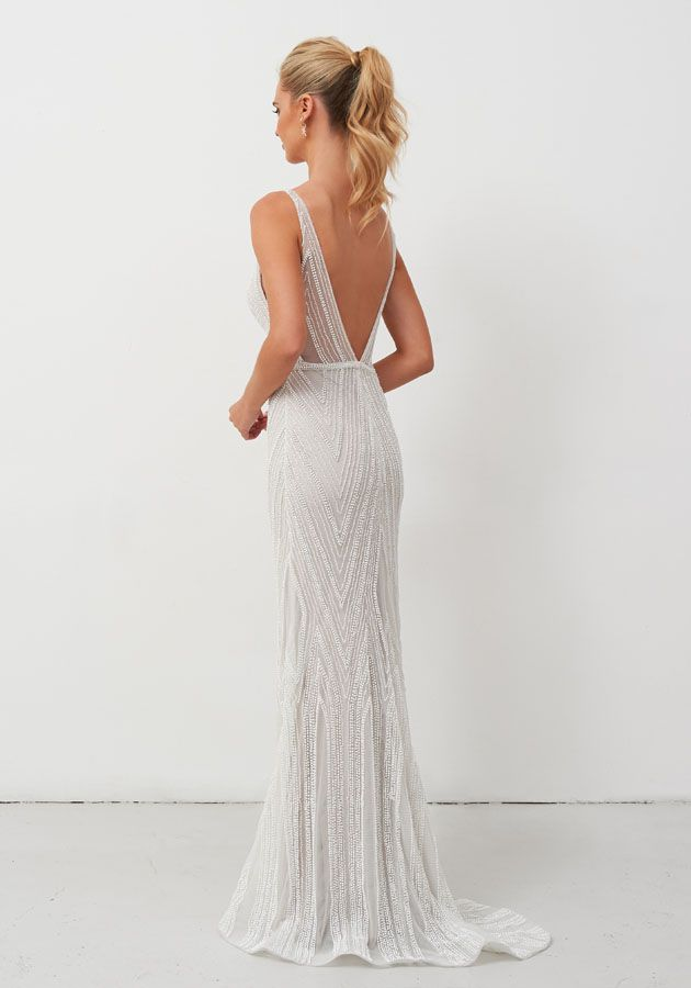Fully beaded, two-toned gown withv-neckline, sheer backand belt detail | COMING SOON TO Everthine Bridal | Madison CT | Burlington VT | Non-traditional Bridal | Bohemian Bride | Low Back Wedding Dress | Lace Wedding Dress | Beaded Wedding Dress