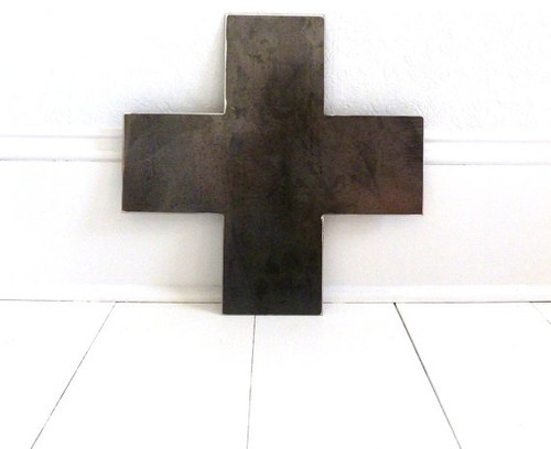 Large Custom-Made Metal Cross, Swiss Military by The Vintage Cabin modern artwork