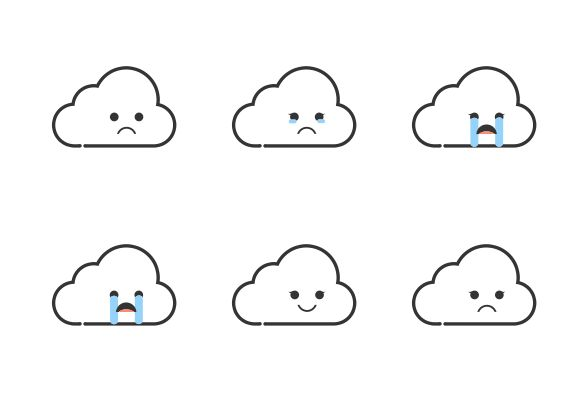 Dowload these Cloud Emoji vector icons and more at https://www.iconfinder.com/lsedesigns