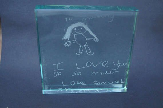Jade glass block personalised glass block child's hand
