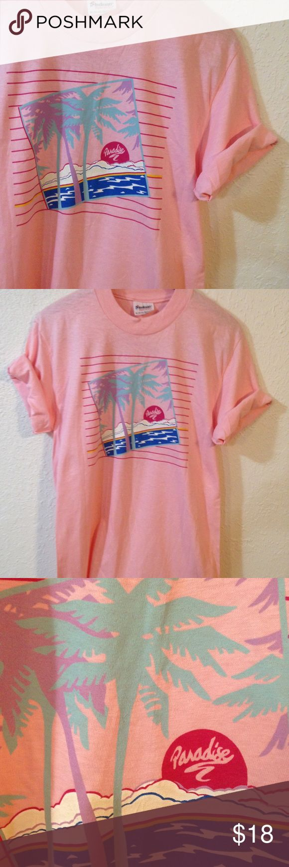 "Vintage pastel beach t-shirt pink ocean t-shirt Sweet vintage beachy shirt!  Pastel retro graphic that reads, ""paradise"". Ocean, clouds, palm trees. 100% cotton. Excellent vintage condition!  Oversized t-shirt / throwback / 90s / 1990s / souvenir / truck stop / tourist / vacation / unisex / womens / mens / women's / men's / hipster / grunge / pink / purple / blue / tee / vtg Vintage Tops Tees - Short Sleeve"