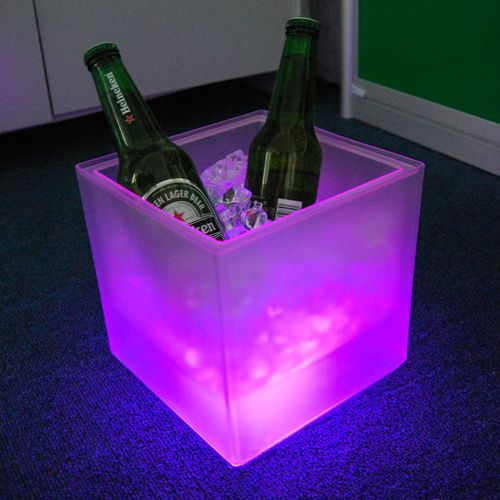 Led Cube Shaped Ice Bucket 3 Changing Light Colors For