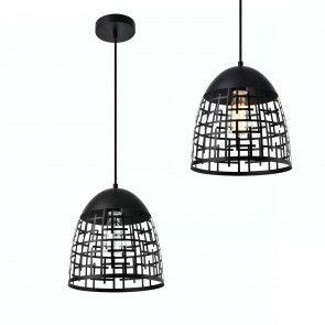 [lux.pro] Lampdario a sospensione design nero metallo 29,90 €