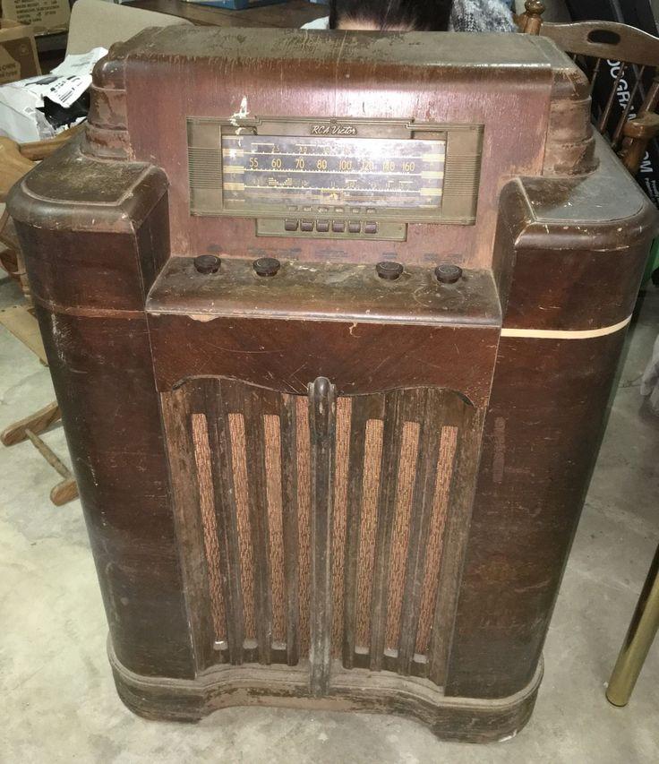 Antique Rca Victor Model Floor Tube Radio Push Button