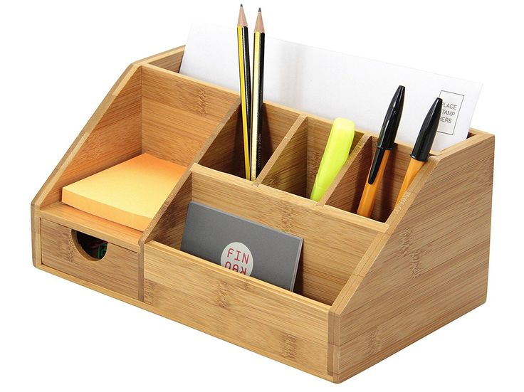 Bamboo Stationery Organiser Letter Rack Notes Pen Pencil Holder: Amazon.co.uk: Office Products