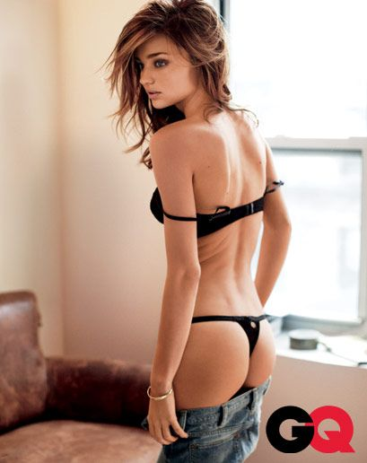 Miranda Kerr Photographed by Alexi Lubomirski for GQ February 2010 - bra and panties by Victoria's Secret. Jeans by Ralph Lauren Blue Label.