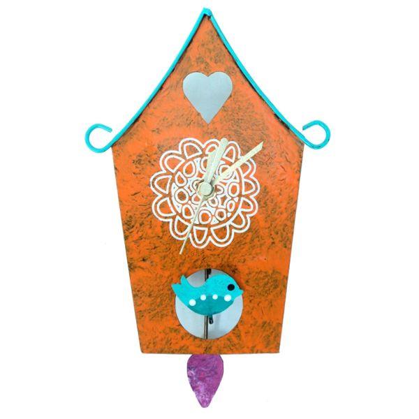 Oxidos Little House Wall Clock - Orange